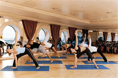 A yoga lesson on the Navigator of the Seas
