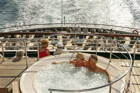 An outdoor whirlpool on the MV Discovery