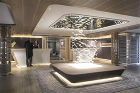 The reception lounge aboard Le Soleal
