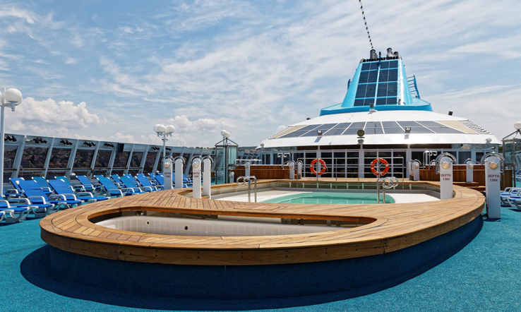 The outdoor swimming pool onboard Celestyal Nefeli.