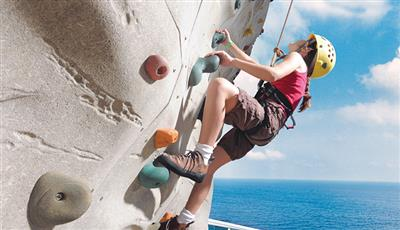 The iconic Rock Wall, one of the most interesting activities on-board Allure of the Seas.