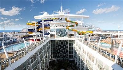 The zipline suspended on the open air atrium of the Oasis of the Seas