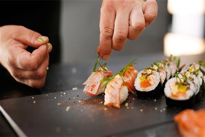 Sushi being  freshly prepared onboard Celestyal Crystal.