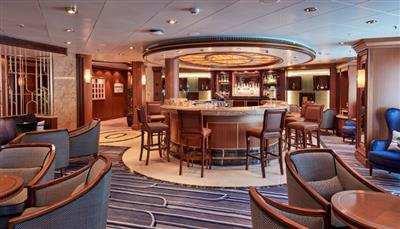 The Veuve Cliquot Champagne Bar on deck 2 of Cunard's Queen Victoria