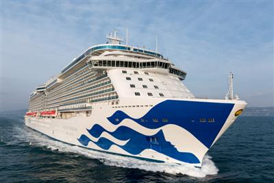 The decorated bow of the Majestic  Princess