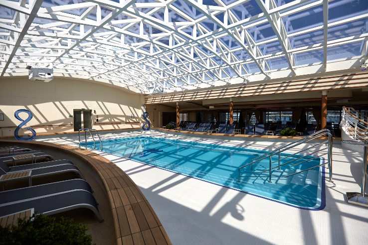The indoor Hollywood Pool Club on the Majestic Princess