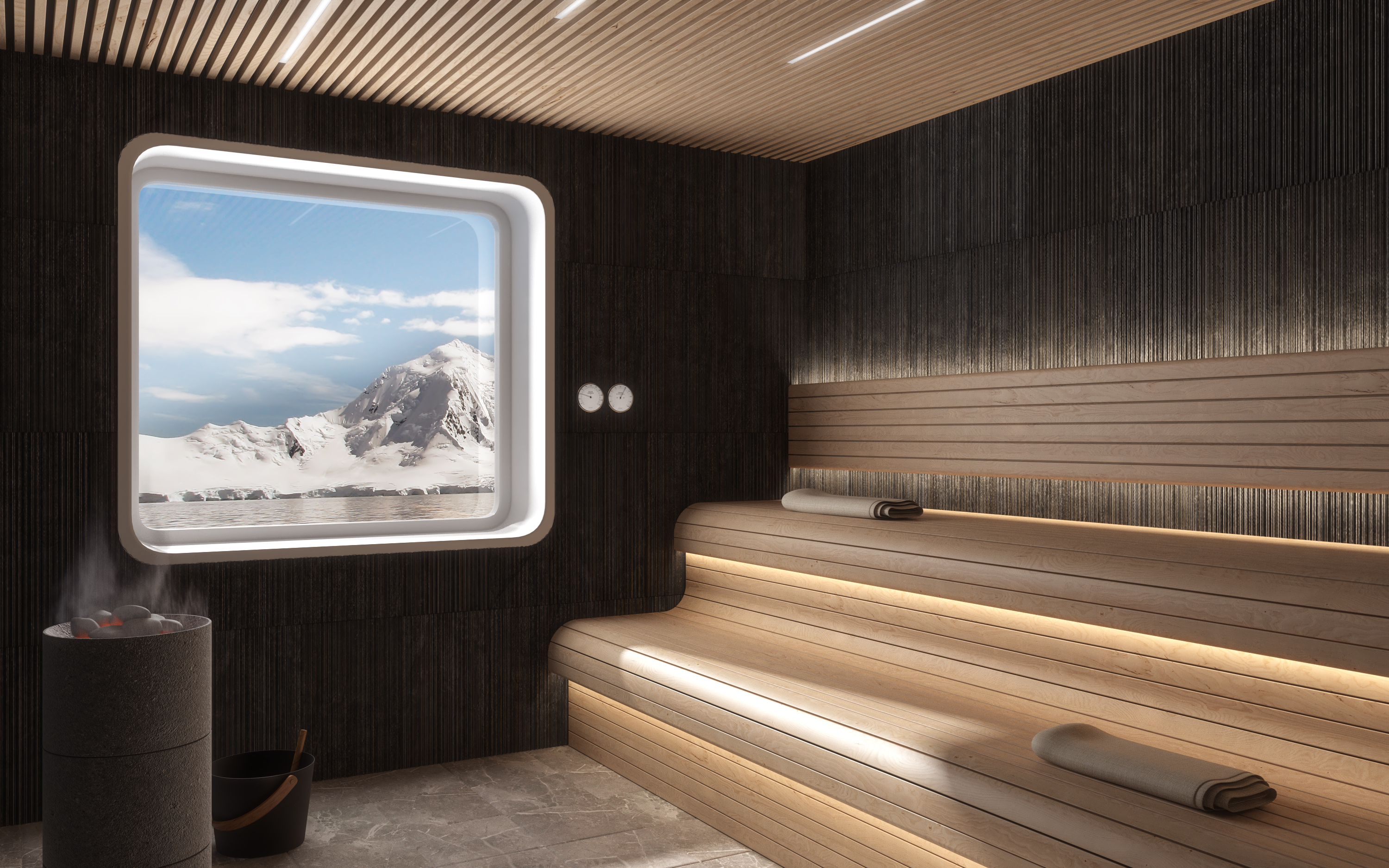 The sauna in Crystal Endeavor's Spa