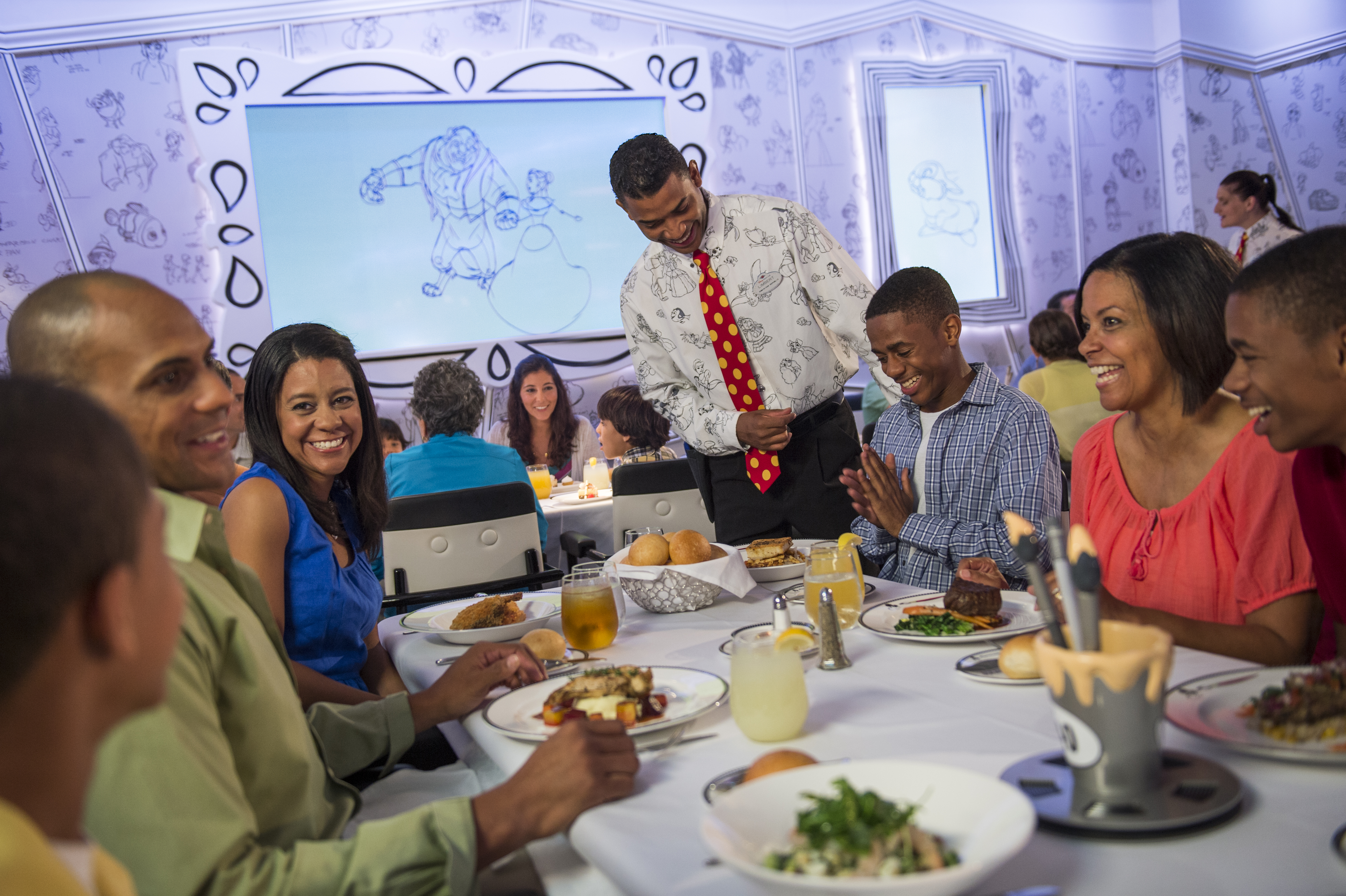 A family dinner onboard Disney Magic