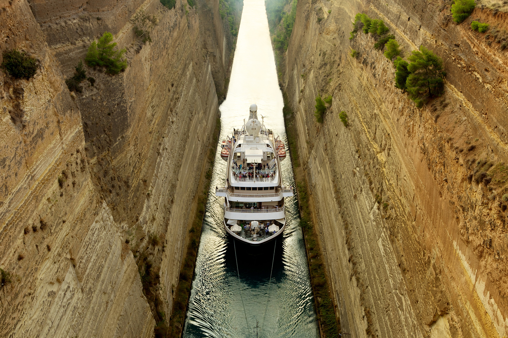 A SeaDream Yacht in Corinth's Canal