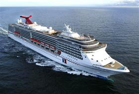 An aerial view of Carnival Legend while sailing.