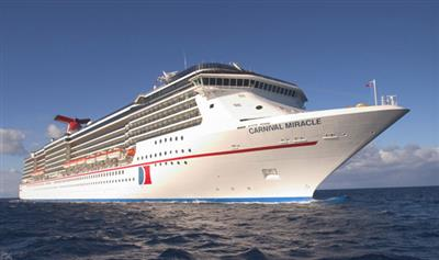 Carnival Miracle sailing, bow view